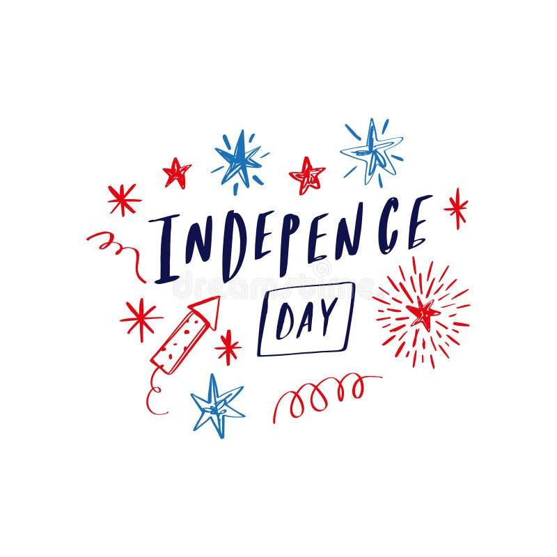 Die Gekritzelhand, die gezeichnet wird, Plakat oder Karte mit Sternschnuppenfeuerwerk beschriftend, feiern USA-Feiertag Unabhängi lizenzfreie abbildung