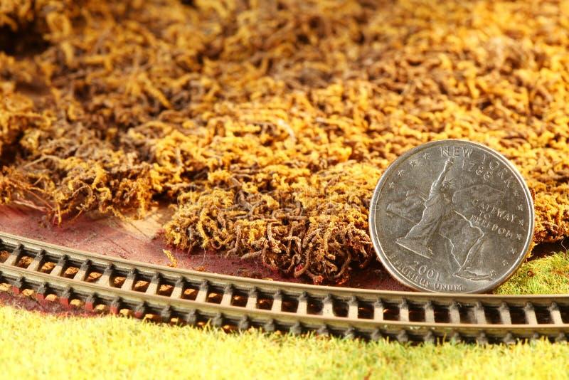 Die Geldmünze setzte an die vorbildliche Eisenbahnmodellminiaturszene lizenzfreie stockfotografie