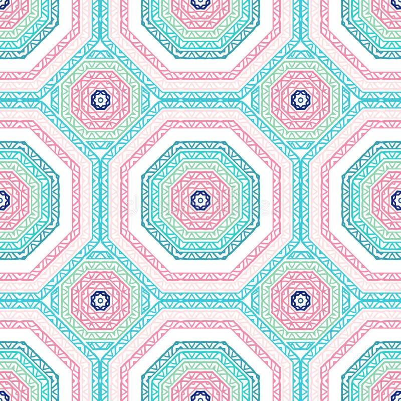Die geometrische Musterfliese Helles rosa, blaues Muster Stammes- Beschaffenheit Vektor stock abbildung