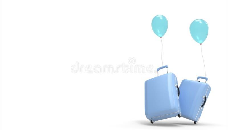 Die Gepäcktasche, das Kofferpastellblau und die Ballone, die auf einem weißen Hintergrund an den Sommerferien lokalisiert werden, lizenzfreie abbildung