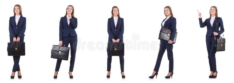 Die Geschäftsfrau in der Klage lokalisiert auf Weiß stockfotografie