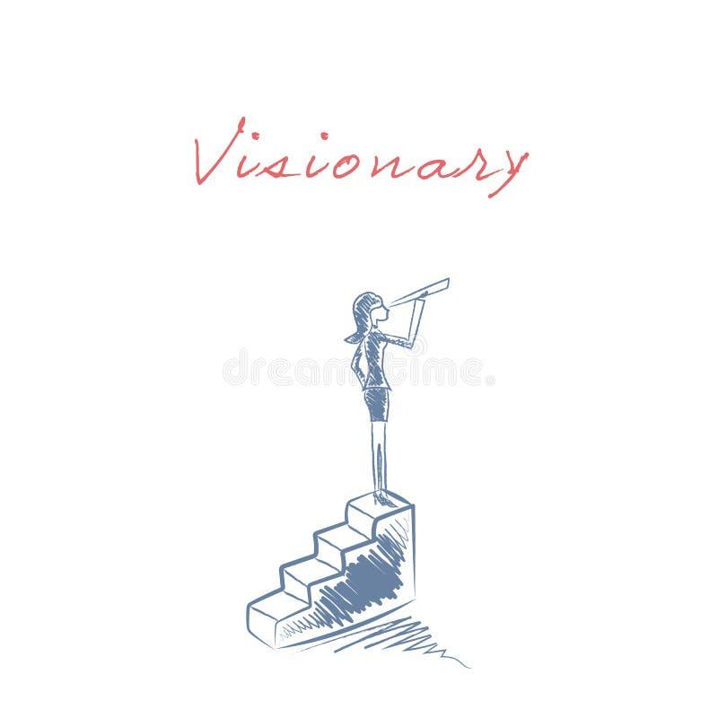 Die Geschäftsfrau, die auf Schritte steht, vector Illustration als Symbol der Geschäftskarriere, Visionär, Ehrgeiz Hand lizenzfreie abbildung
