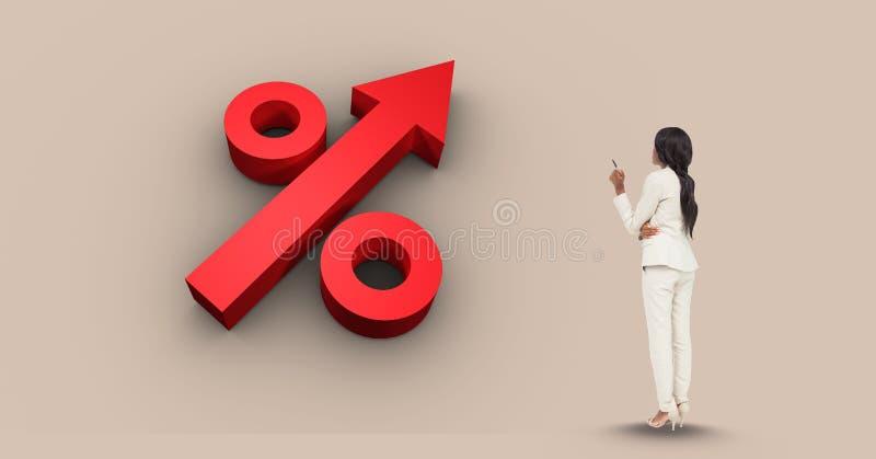 Die Geschäftsfrau, die Prozentsatz betrachtet, unterzeichnen herein Pfeilform vektor abbildung