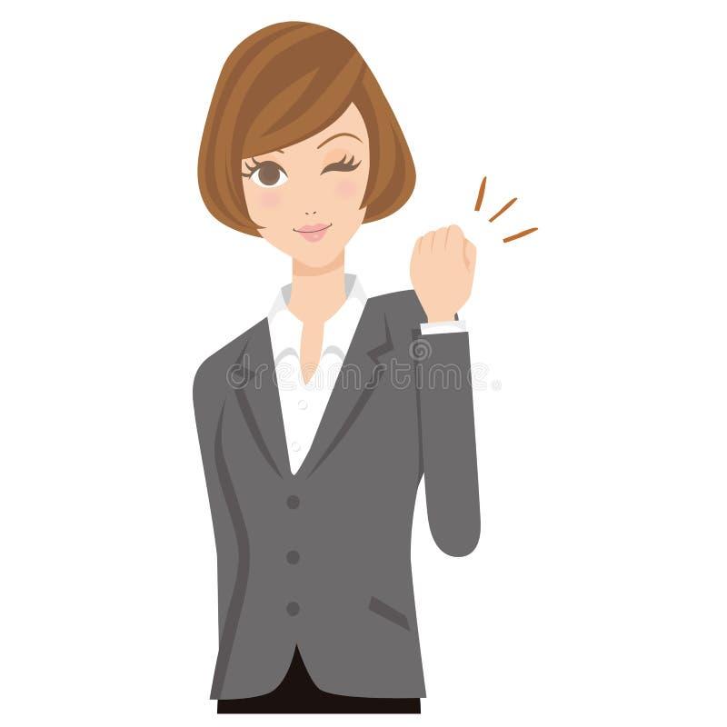 Die Geschäftsfrau, die sein Bestes tut vektor abbildung