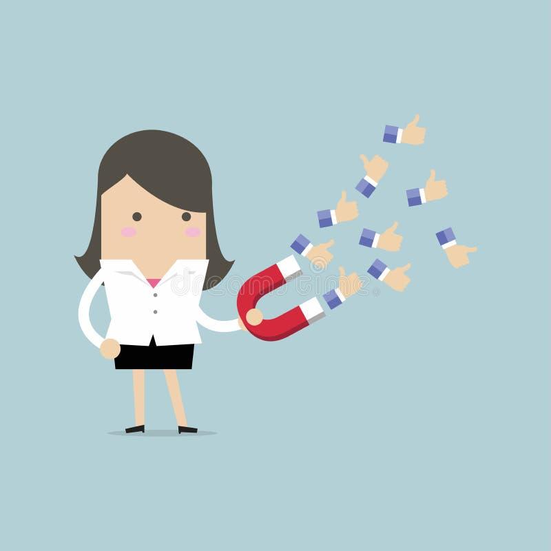 Die Geschäftsfrau, die enormen Magneten verwendet, ziehen viel positives Feedback an vektor abbildung