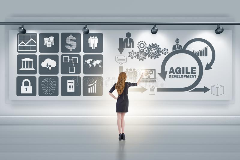 Die Geschäftsfrau im beweglichen Softwareentwicklungskonzept stockfotos