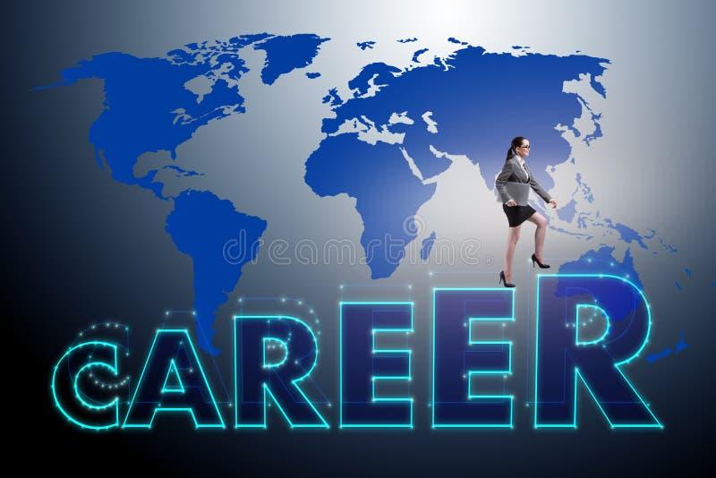 Die Geschäftsfrau im globalen Beschäftigungskonzept stock abbildung