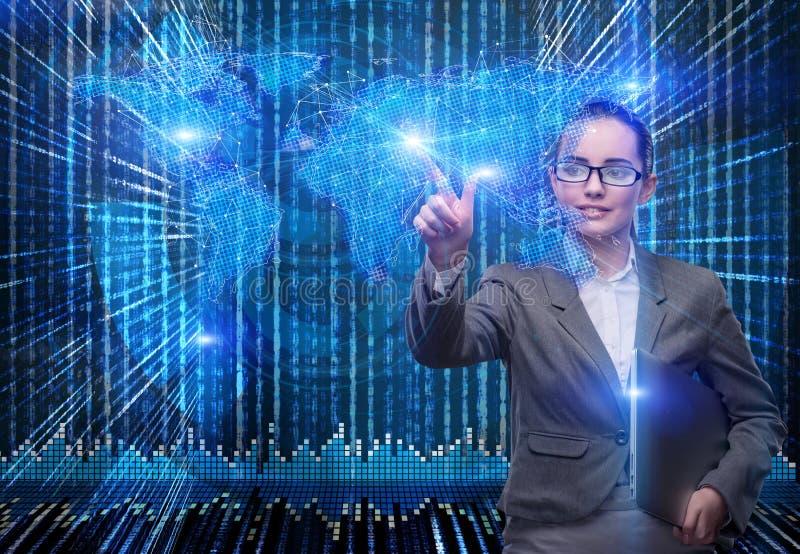Die Geschäftsfrau im Konzept des globalen Geschäfts lizenzfreies stockfoto