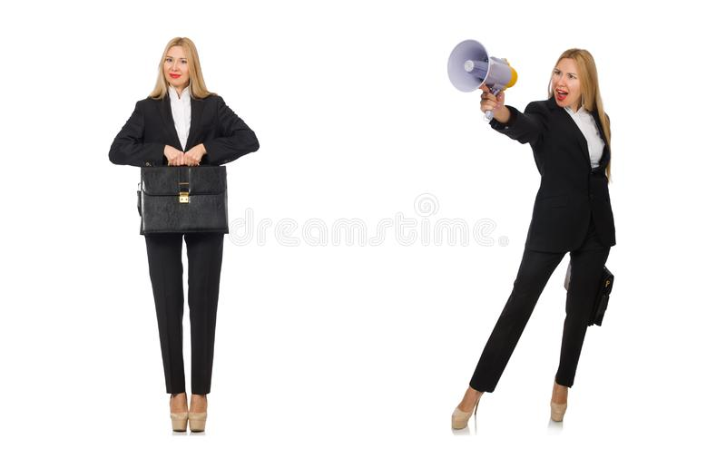 Die Geschäftsfrau mit Megaphon und Aktenkoffer lizenzfreie stockfotografie