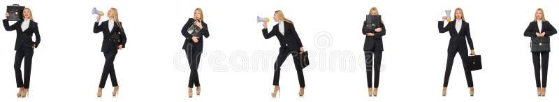 Die Geschäftsfrau mit Megaphon und Aktenkoffer stockfoto