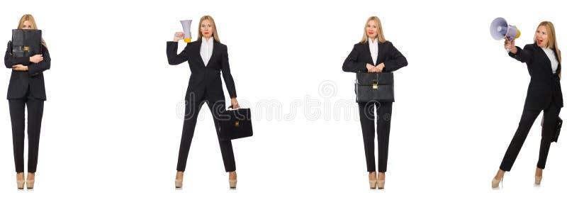 Die Geschäftsfrau mit Megaphon und Aktenkoffer lizenzfreie stockfotos