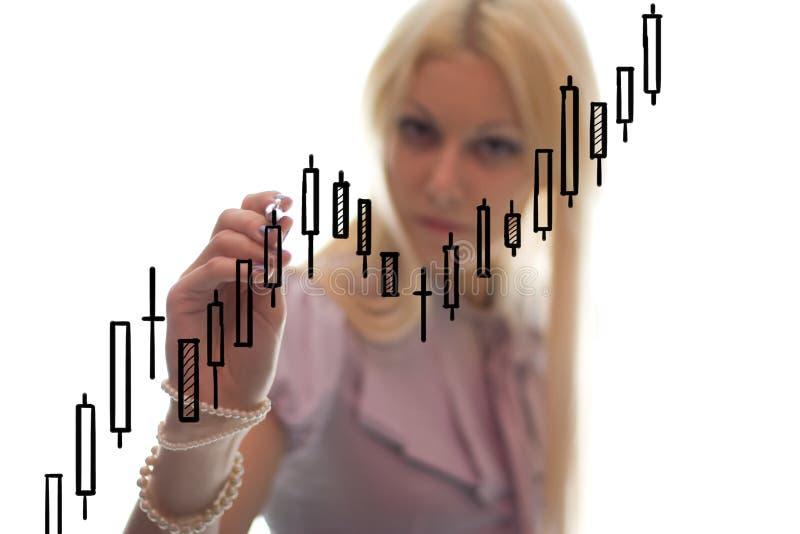 Die Geschäftsfrau schreibt das grath auf das Glas lizenzfreie stockbilder