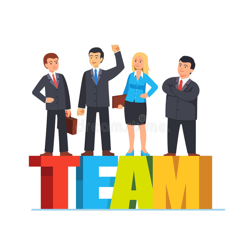 Die Geschäftsleute, die auf den Buchstaben bilden Wort stehen, team lizenzfreie abbildung