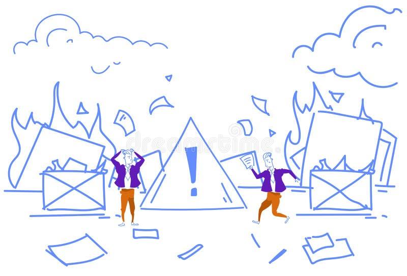 Die Geschäftsmänner, die Feuerarbeitsplatzbüro-Privatlebendokumente auslöschen, brennen Zerstörung der Beweiskonzept-Aufmerksamke vektor abbildung