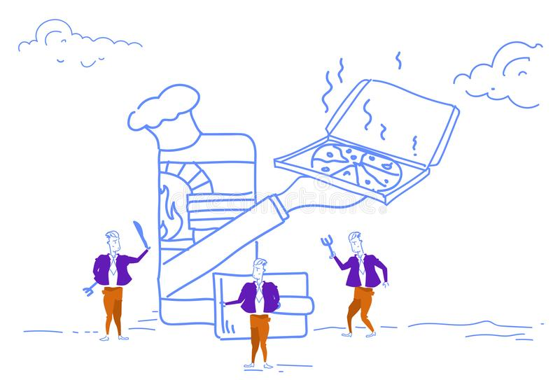 Die Geschäftsmänner unter Verwendung des on-line-Schnellimbiss-Lieferungskonzeptes der beweglichen Anwendung Pizzahauptkappengesc lizenzfreie abbildung