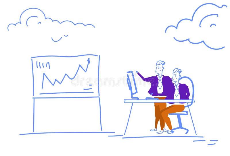Die Geschäftsmannfinanzanalytik, die Konzeptfinanzpfeil herauf erfolgreichen teamworking Prozess des Diagramms gedanklich löst, h lizenzfreie abbildung