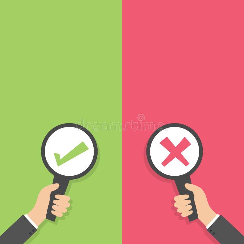 Die Geschäftsmannhand, die leere Zeichenpapierplatte mit grüner Zeckenkontrolle halten und das rote Kreuz markieren flache Design stock abbildung