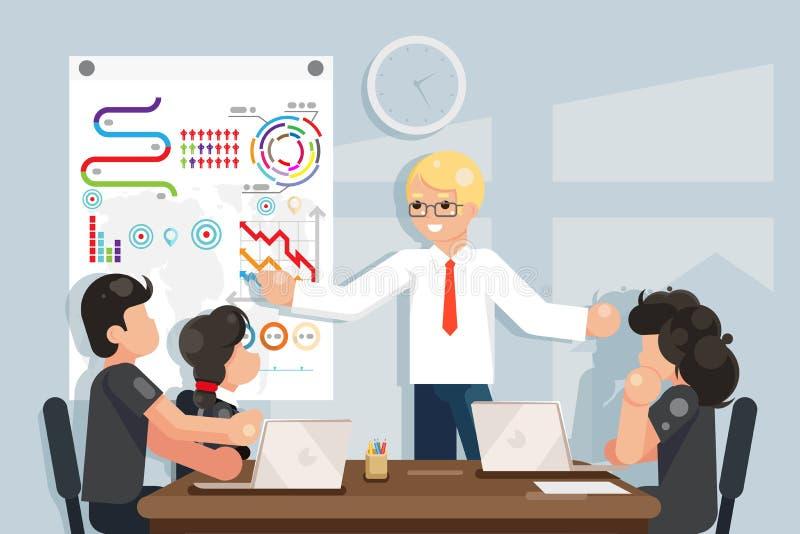 Die Geschäftstreffen-Ideenlösung trainierend, die flaches Design sucht, vector Illustration lizenzfreie abbildung