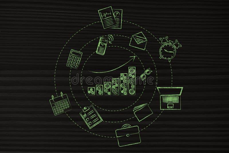 Die Geschäftswachstums-Diagrammstangen, die umgeben werden, indem sie Büro spinnen, wendet ein lizenzfreie abbildung