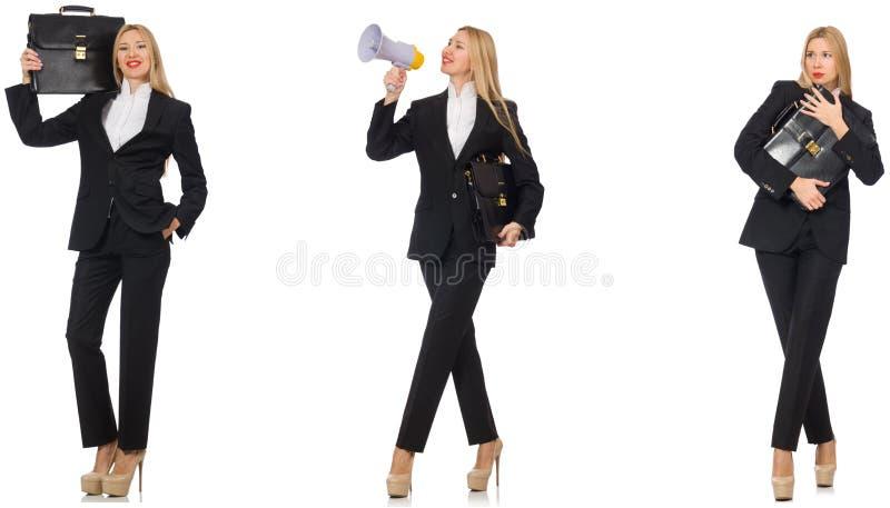 Die Gesch?ftsfrau mit Megaphon und Aktenkoffer stockfotos