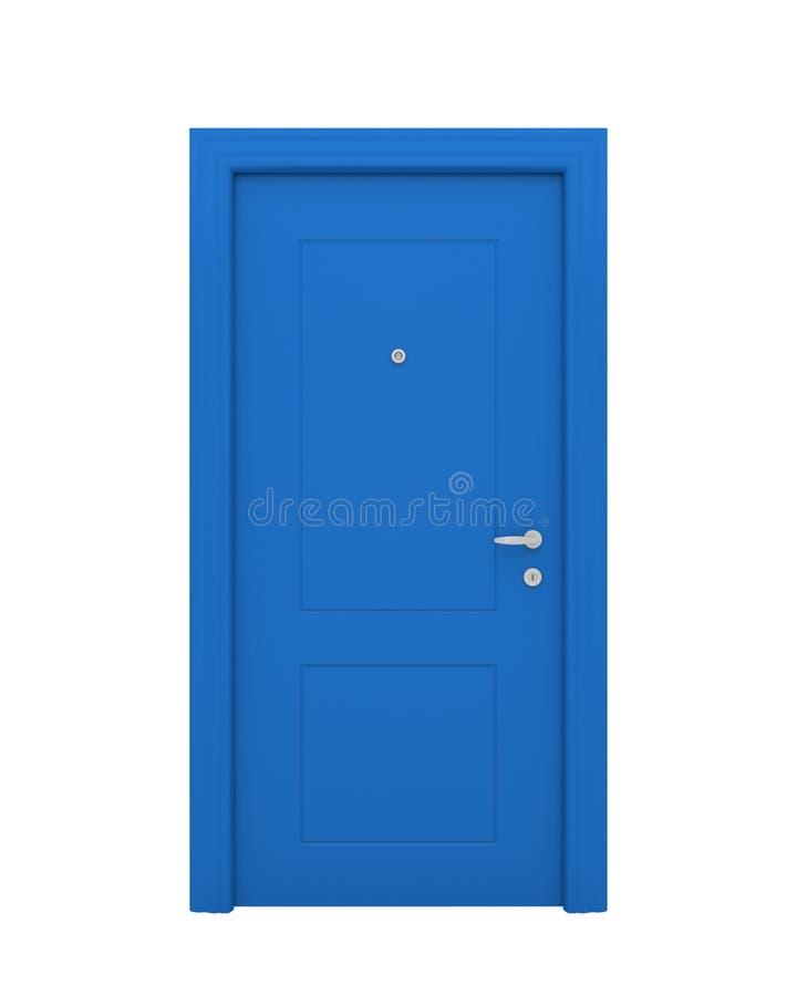 Die geschlossene blaue Tür stock abbildung