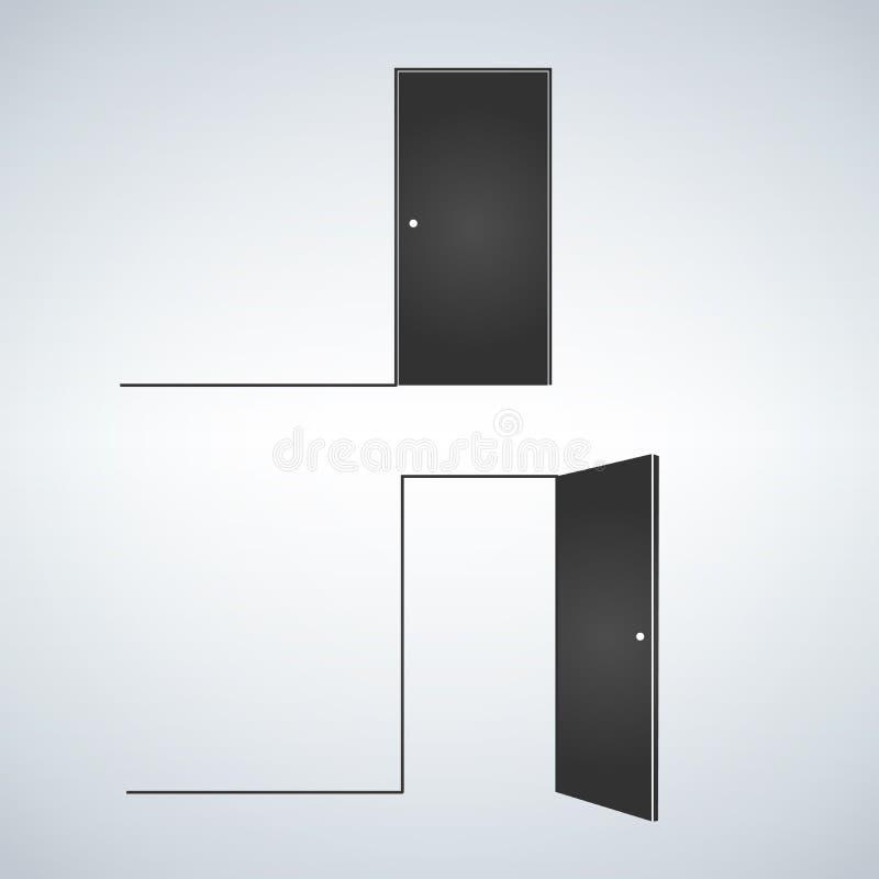 Die geschlossenen Türen und öffnen sich Vektorillustration im flachen Artdesign, lokalisiert auf Weiß stock abbildung