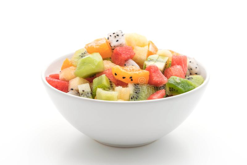 die geschnittene Mischung trägt Früchte (Orange, Drachefrucht, Wassermelone, Ananas, lizenzfreie stockfotos