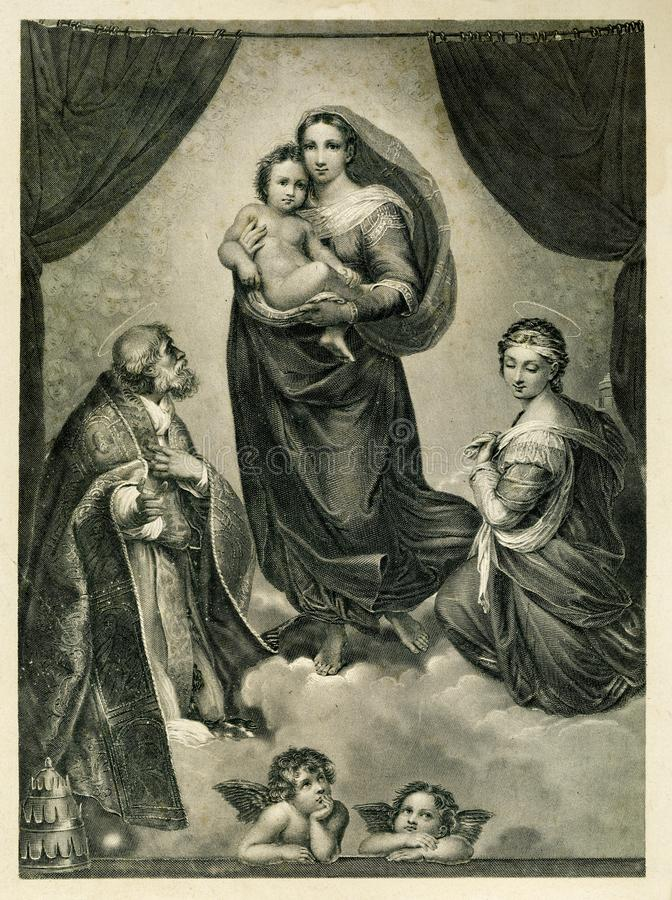 Die gesegnete Jungfrau-und Kinderreligion stockfotos