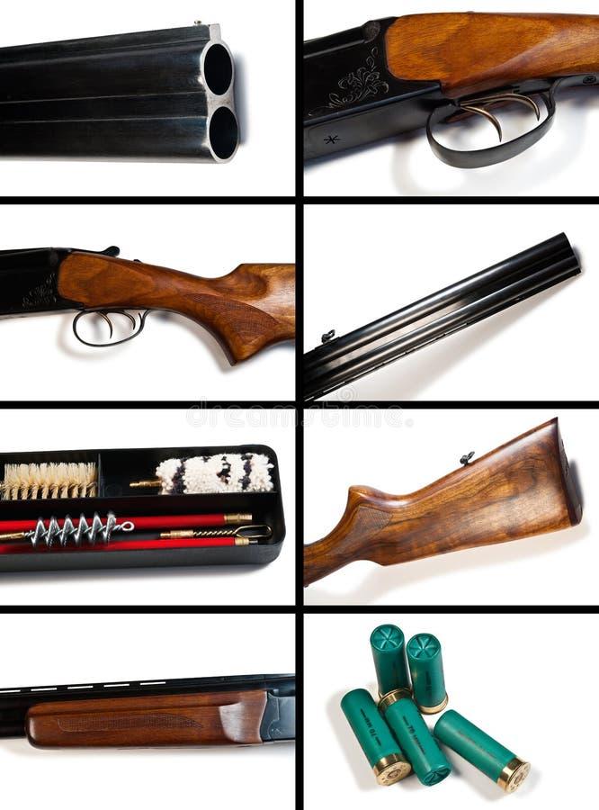 Die Gewehr auf weißem Hintergrund. Collage. lizenzfreie stockfotos