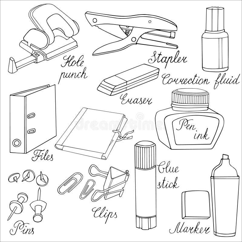Die gezeichnete Briefpapier-Hand skizzierte Illustration Gekritzelzubehör stockbilder