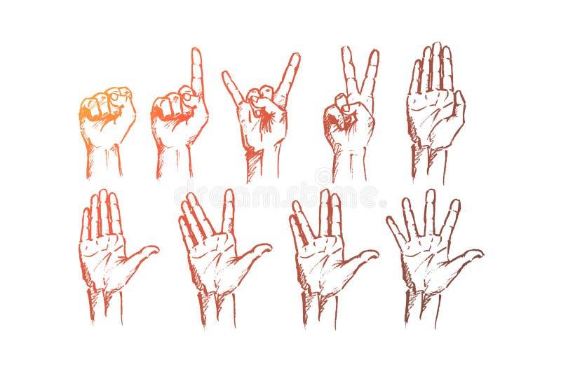 Die gezeichnete Hand übergibt Zeichen mit Begriffsbeschriftung vektor abbildung