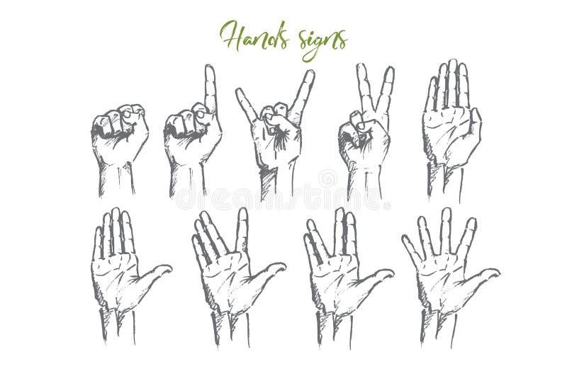 Die gezeichnete Hand übergibt Zeichen mit Begriffsbeschriftung stock abbildung