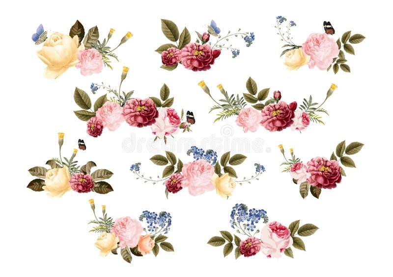 Die gezeichnete Hand blüht buntes Blumenmuster lizenzfreie abbildung
