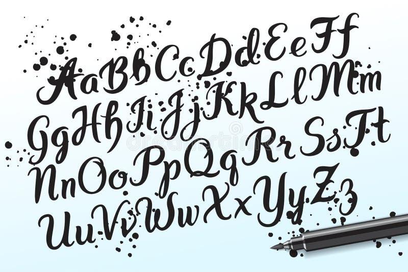 Die gezeichnete Hand brushpen Alphabetbuchstaben vektor abbildung