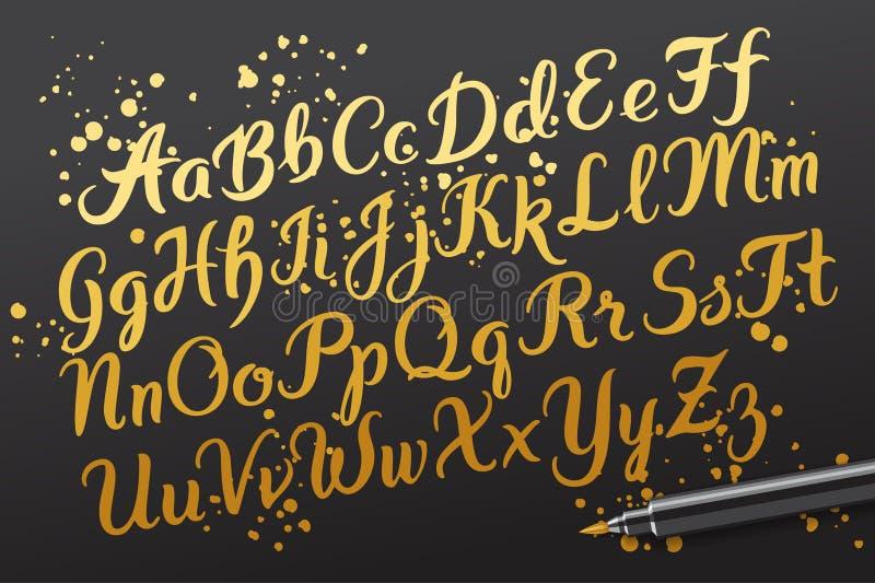 Die gezeichnete Hand brushpen Alphabetbuchstaben stock abbildung