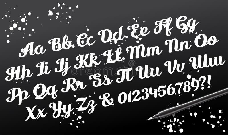 Die gezeichnete Hand brushpen kalligraphische Alphabetskriptbuchstaben stock abbildung