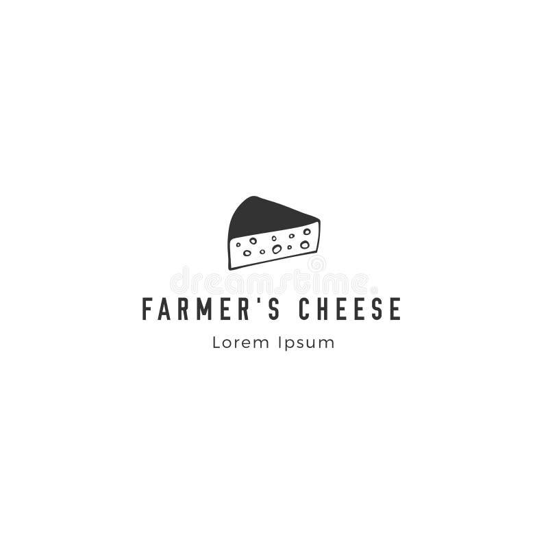 Die gezeichnete Vektorhand wenden, ein Stück Käse ein Bauernhoflogoschablone vektor abbildung