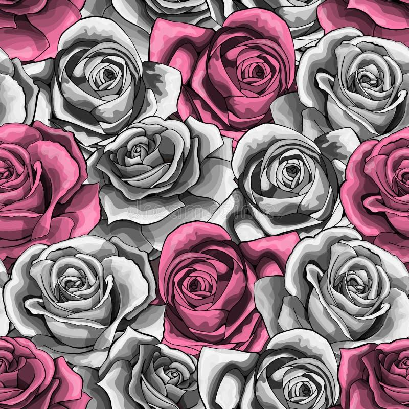 Die gezeichnete Vektorweinlesehand stieg blühendes nahtloses Muster der Blumenblüte vektor abbildung
