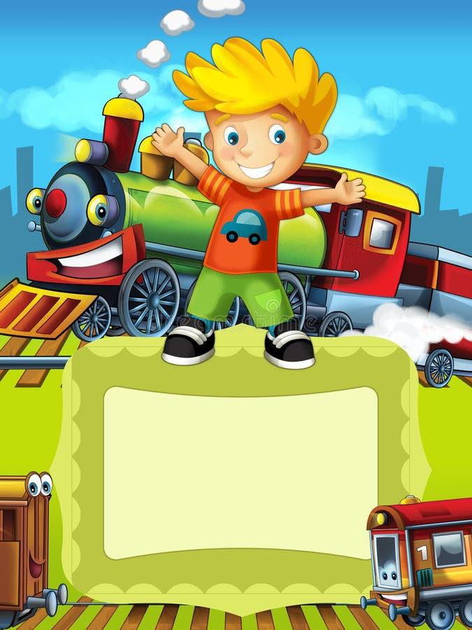 Die Fahrzeuge - der Aufkleber mit Kind - Illustration für die Kinder stock abbildung