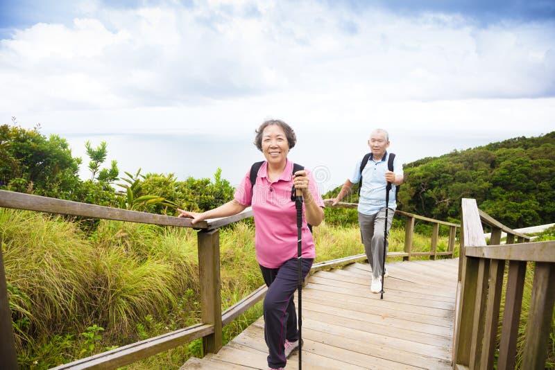 Die glücklichen älteren Paare, die auf dem Berg wandern, parken lizenzfreies stockfoto