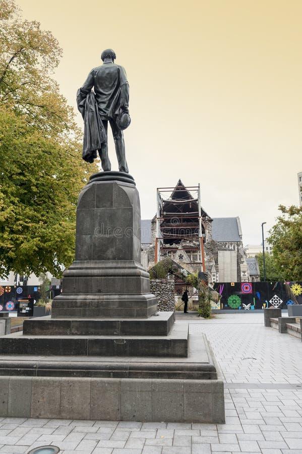 Die Godley-Statue aufgestellt vor der Christchurch-Kathedrale am Kathedralen-Quadrat als Gedenken zu John Robert Godley lizenzfreie stockfotografie