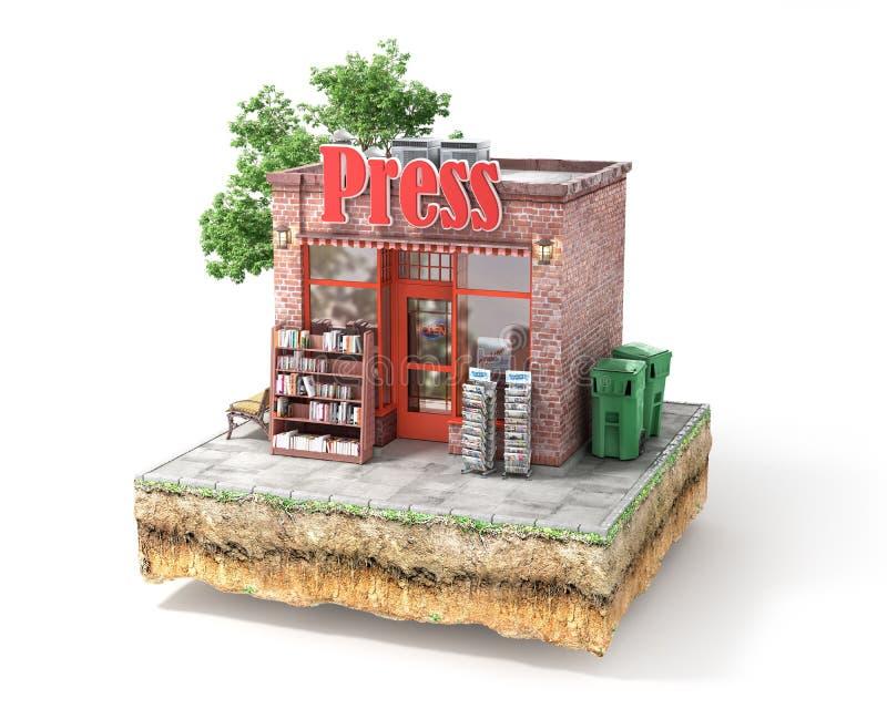 Die goldene Taste oder Erreichen für den Himmel zum Eigenheimbesitze Drücken Sie Kiosk lizenzfreie abbildung