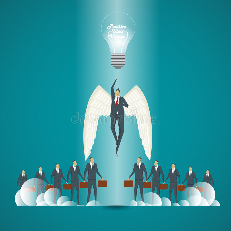 Die goldene Taste oder Erreichen für den Himmel zum Eigenheimbesitze Geschäftsmann mit Ideen und positiver Vision für lizenzfreie abbildung