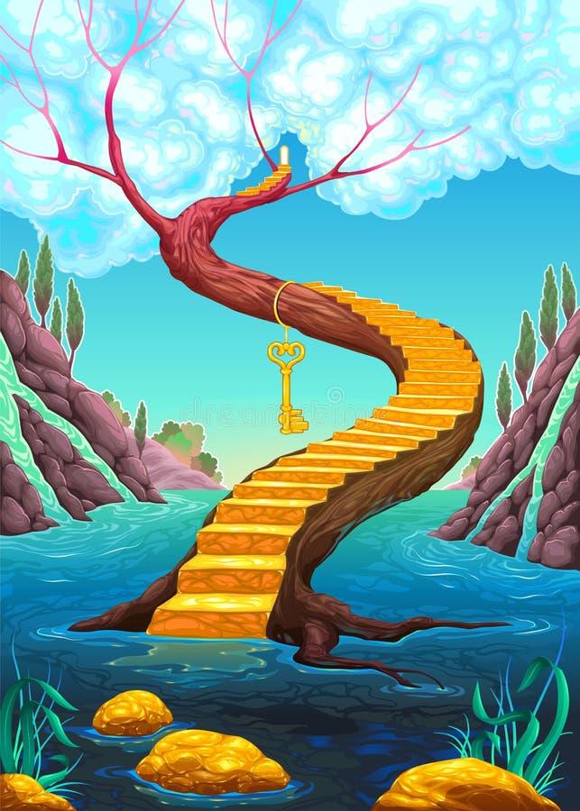 Die goldene Treppe mit Schlüssel vektor abbildung