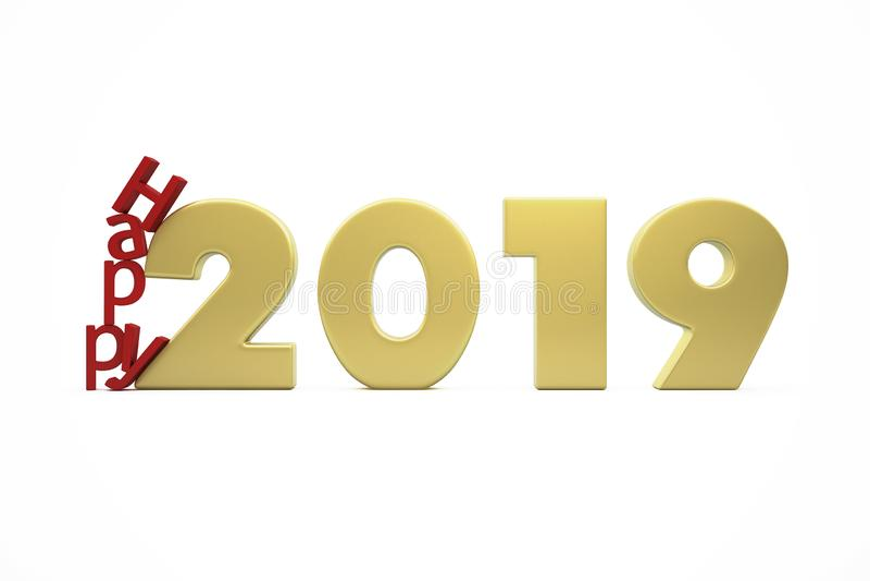 Die goldenen glücklichen 2019 Zahlen des neuen Jahres stockbild