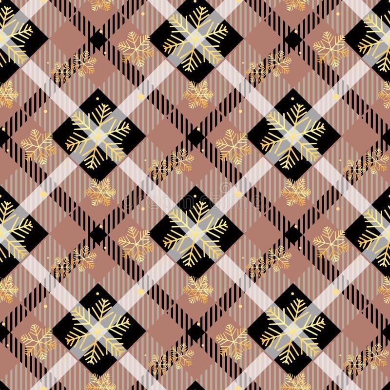 Die goldenen Schneeflocken, die auf dunklem Schottenstoffgewebe nahtlos sind, masern nahtlose Vektorillustration des diagonalen M stock abbildung