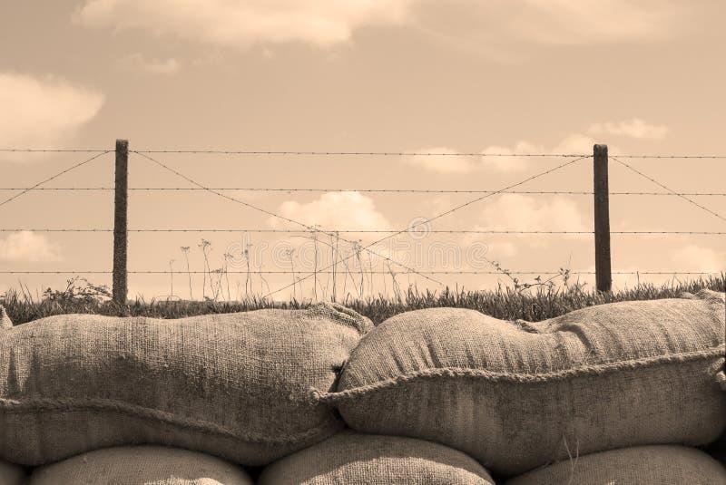 Die Gräben von Sandsäcken des Todesersten weltkrieges in Belgien lizenzfreies stockfoto