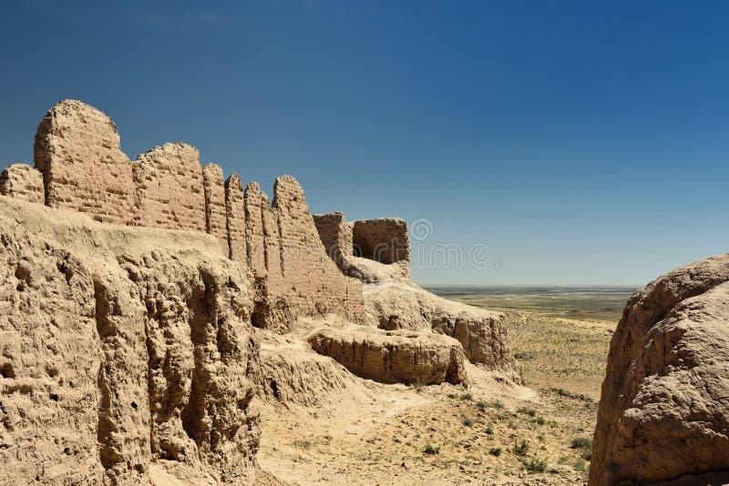 Die größten Ruinen Schlösser des antiken Chorezm - Ayaz - Kala, Usbekistan stockfotografie