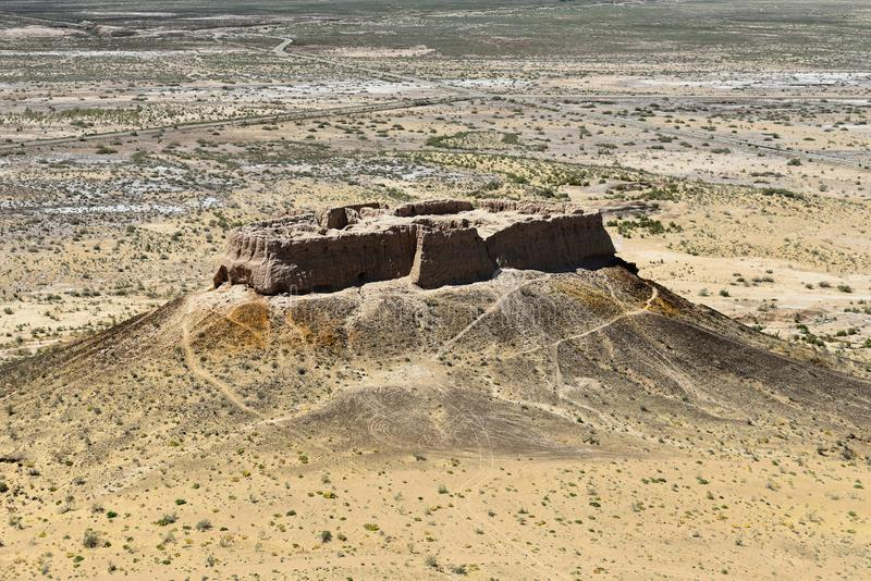 Die größten Ruinen Schlösser des antiken Chorezm - Ayaz - Kala, Usbekistan stockbilder