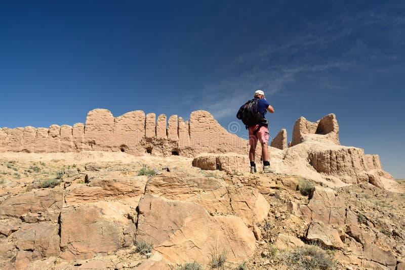 Die größten Ruinen Schlösser des antiken Chorezm - Ayaz - Kala, Usbekistan lizenzfreie stockfotografie